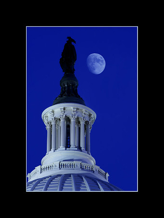 Moon over the Capitol Rotunda, Washington, DC.