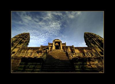 Upper Terrace of Angkor Wat at Sunrise, Cambodia
