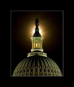 Harvest Moon Rising Above the U.S. Capitol Dome, Washington, DC
