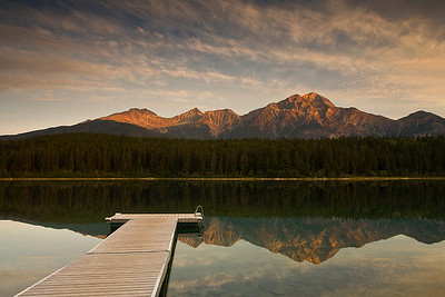 Sunrise over Patricia Lake and Pyramid Mountain, Jasper Park, Alberta, Canada