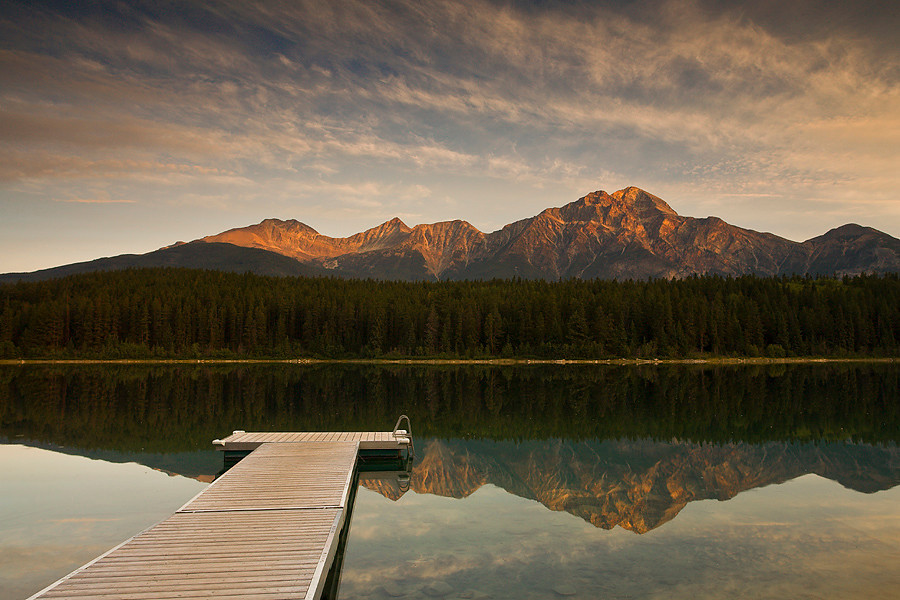 Sunrise over Patricia Lake and Pyramid Mountain, Jasper Park, Alberta, Canada