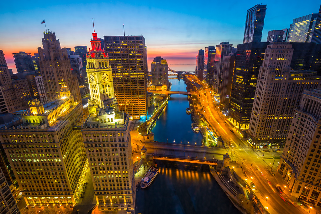 Chicago River and Lake Michigan at Sunset