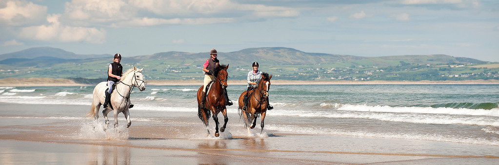 3 Horseriders on Downhill beach