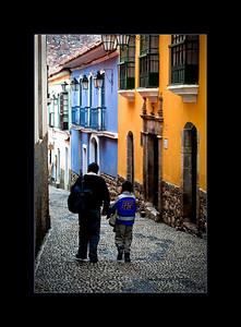 Narrow cobblestone street in old La Paz