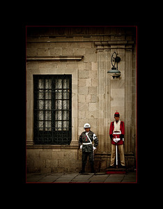 Guards in modern and traditional dress, La Paz