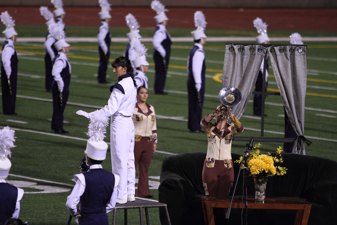 UIL Marching Contest at the SAC, 10/13/12, where they received a Superior (1) rating.  Danielle Chesak (Dano), preparing to start the main portion of the show.