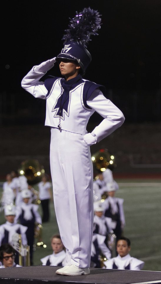 Drum Major, Danielle (Dano) Chesak, saluting at the beginning of their first half-time show - 9/8/12