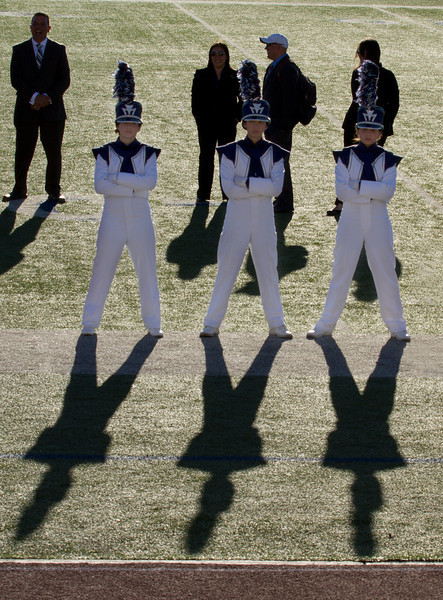 From L to R, Melissa Mitchell, Danielle Chesak, Celeste Carmen.  Drum Majors at the 2013 EPISD Invitational Marching Contest where the band received a 1 (Superior Rating)