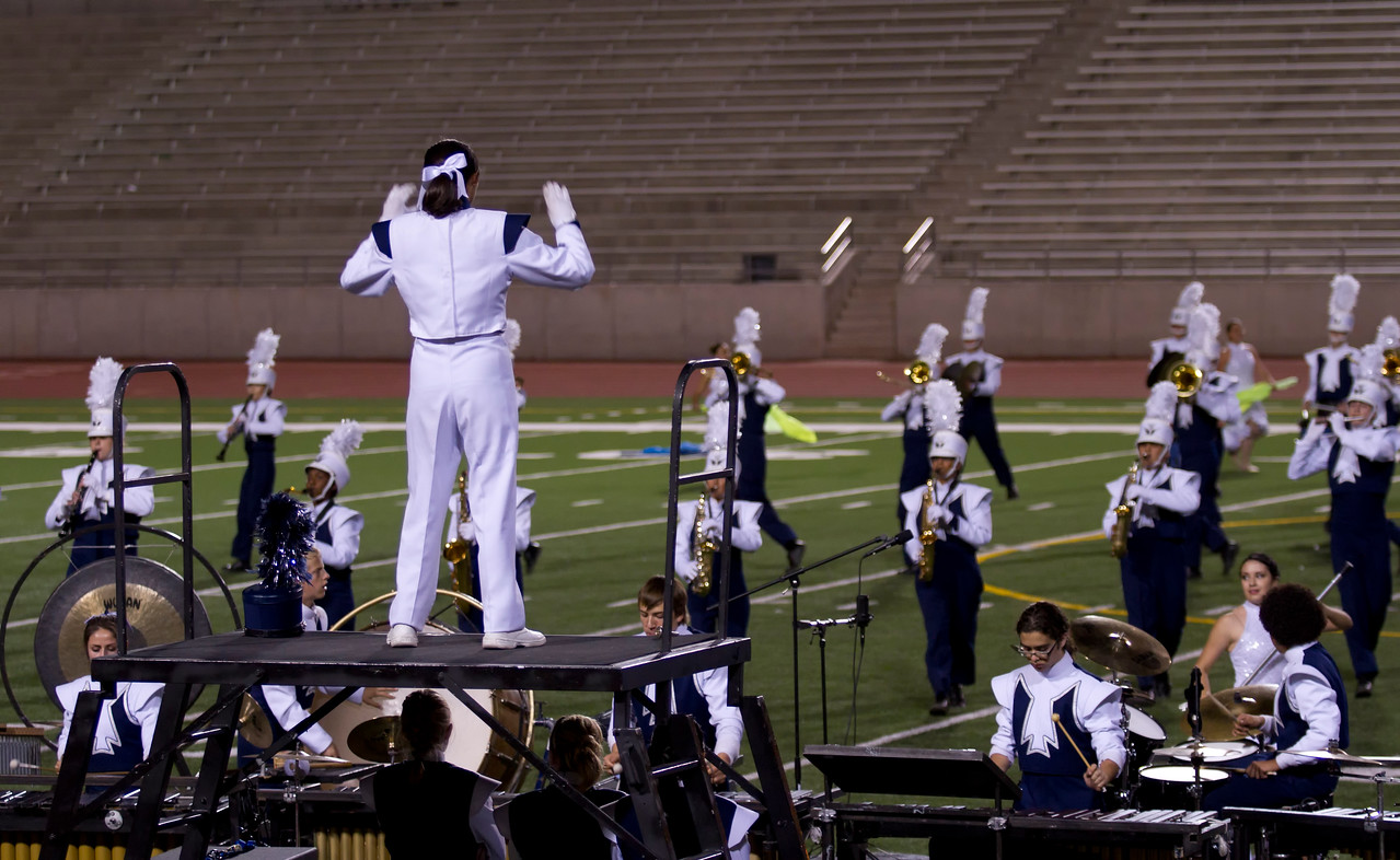 Drum Major Danielle Chesak, Directing the band from Center Podium at the UIL Marching Contest , at the Socorro SAC, where the band received a 1 (Superior Rating)