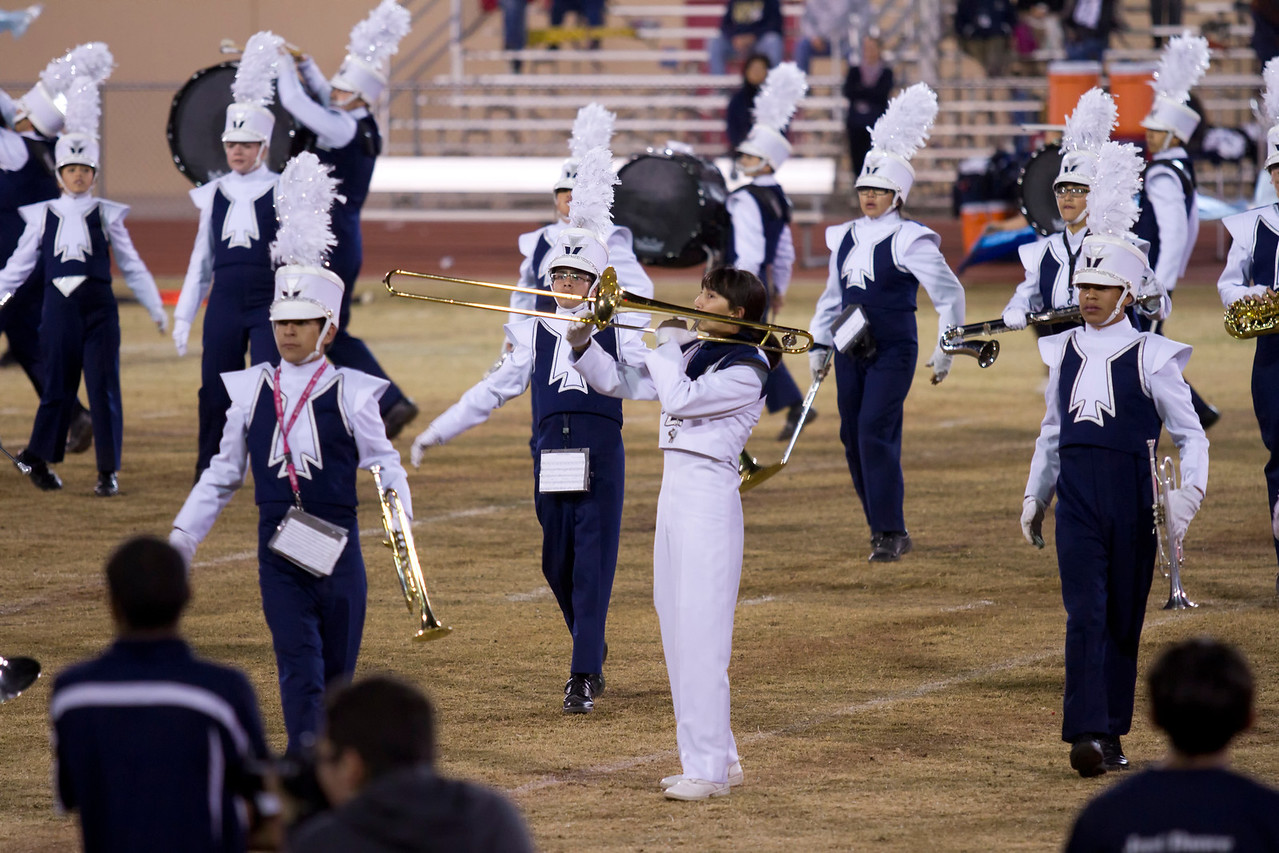 Danielle Chesak performing her Trombone Solo during the half-time show at Bel Air high school.