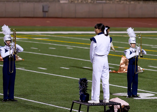 Drum Major Danielle Chesak, preparing to lead the band  at the UIL Marching Contest , at the Socorro SAC, where the band received a 1 (Superior Rating)