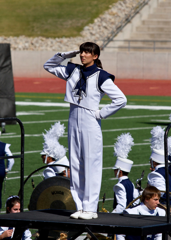 Danielle Chesak saluting the judges after the band's performance at the 2013 SISD Marching Contest.