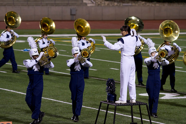 Drum Major Danielle Chesak, Directing the band at the UIL Marching Contest , at the Socorro SAC, where the band received a 1 (Superior Rating)