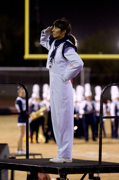 Danielle Chesak performing what may be the final salute of the 2013 marching season, at the Bel Air half-time show