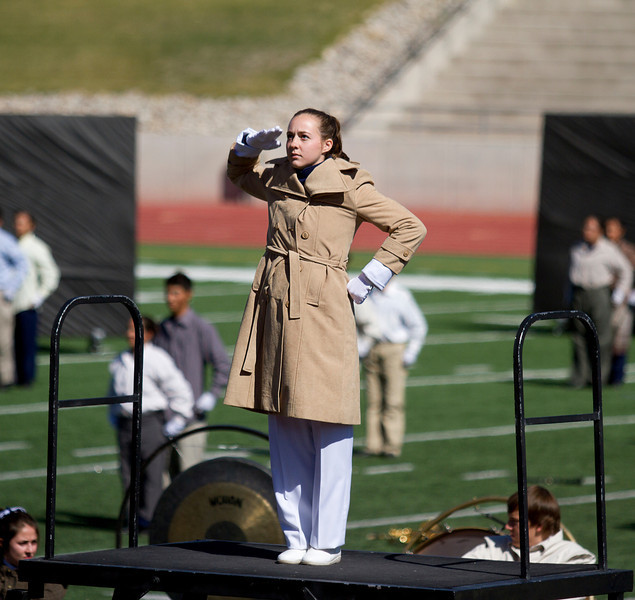 Melissa Mitchell, a Drum Major for Coronado High School Marching Band, Performing the Salute at the SISD Marching Contest,  where the band received first place award.