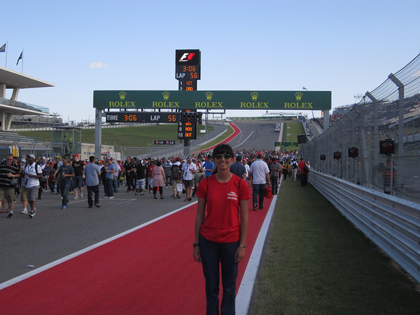 Dano on the main straight in front of the grand stands at the Circuit of the Americas Track - 2013