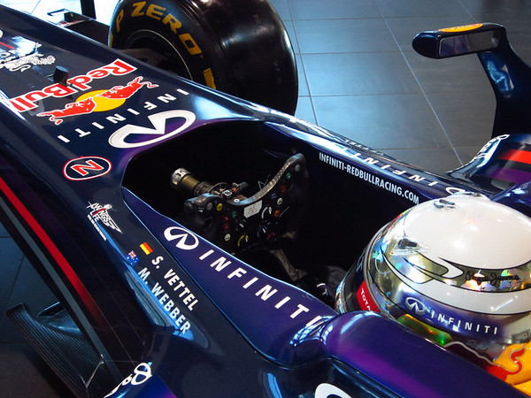 Formula 1 Team Red Bull visiting the Local Infinity dealership in Austin. Here's a photo of the cockpit.  Photo by Jord