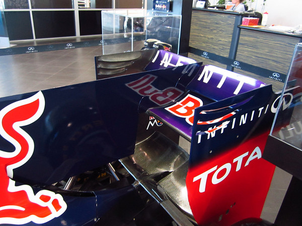 Formula 1 Team Red Bull visiting the Local Infinity dealership in Austin. This is a detail of the rear wing, and the old F-duct design.  Photo by Jord