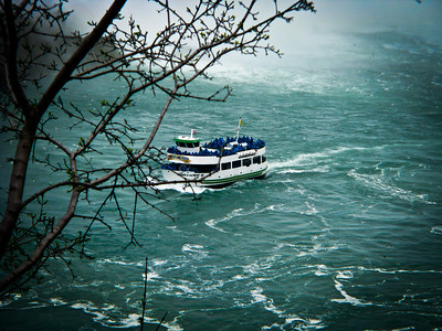 Maid of the Mist boat retuning to the launch dock from  the base of the Canadian Horsehoe Falls