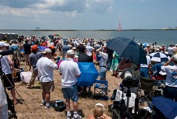 Our position for the NASA Space Shuttle Atlantis, STS-125, launch May 11, 2009. Launch pad 39A circled in red.
