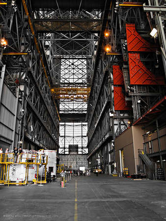 Inside the Vehicle Assembly Building (VAB) at NASA's Kennedy Space Center.