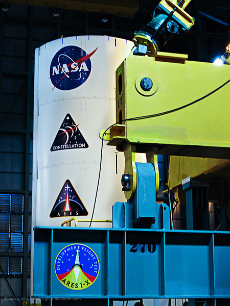 Ares I-X inside the Vehicle Assembly Building (VAB) at NASA's Kennedy Space Center.
