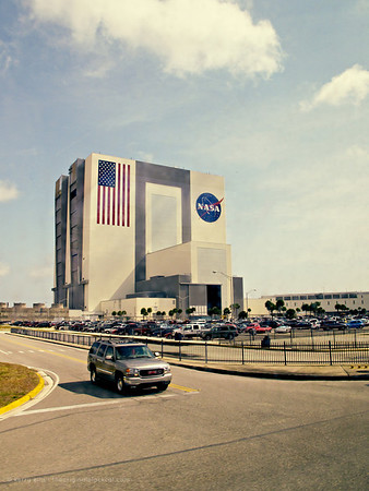 Outside the Vehicle Assembly Building (VAB) at NASA's Kennedy Space Center.