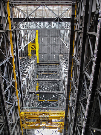 Looking up inside the Vehicle Assembly Building (VAB) at NASA's Kennedy Space Center.