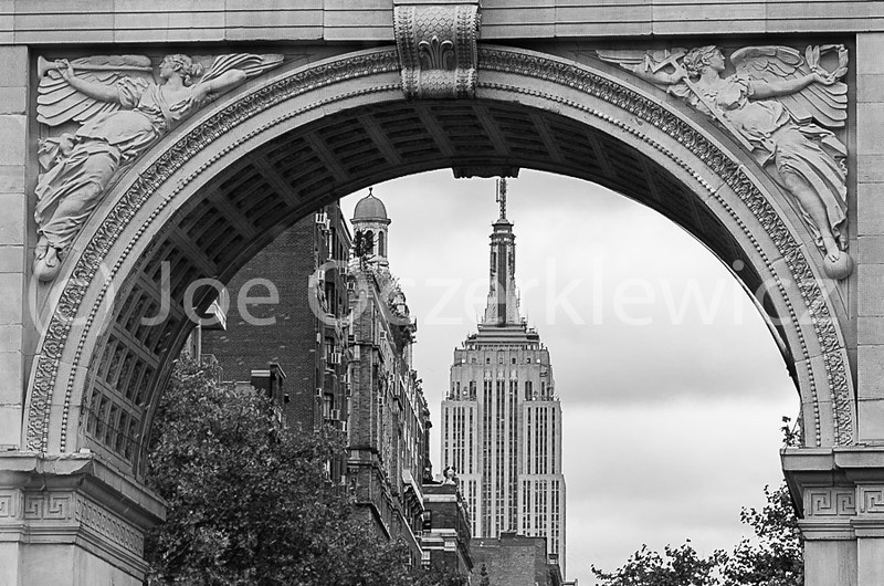 Washington Square Arch with view of Empire State Building
