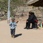 A little boy intrigued by visitors