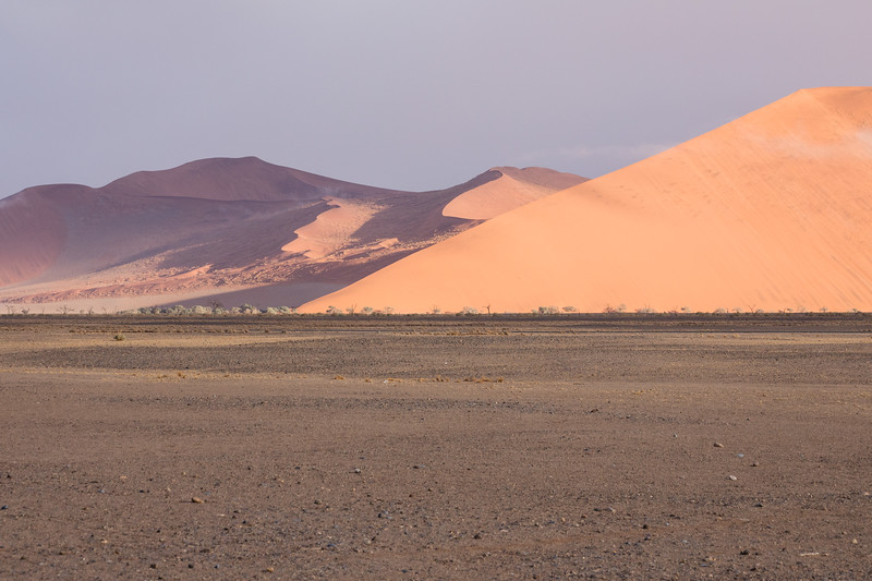 Purple and orange sand dunes in Sossusvlei