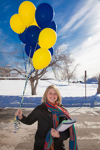 Admissions counselor Caitlin Kaber leads a campus tour during UAF's InsideOut event.  Filename: LIF-12-3334-046.jpg