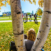 "Emily Russell, a new graduate student in Northern Studies, takes advantage of nice September weather on the Fairbanks campus.  <div class=""ss-paypal-button"">Filename: LIF-12-3540-16.jpg</div><div class=""ss-paypal-button-end"" style=""""></div>"