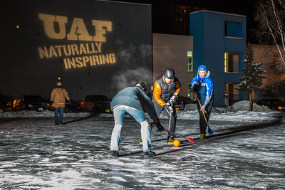 Outdoor broomball, played on the ice in front of the SRC, is a popular intramural sport at UAF.  Filename: LIF-12-3652-36.jpg