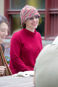 Sarah Azrael visits with other students at the annual UAF Honors House welcome barbeque.  Filename: LIF-12-3523-19.jpg