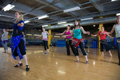 Susan Chapa instructs her middle eastern dance class at the student recreation center on campus.  Filename: LIF-11-3194-67.jpg
