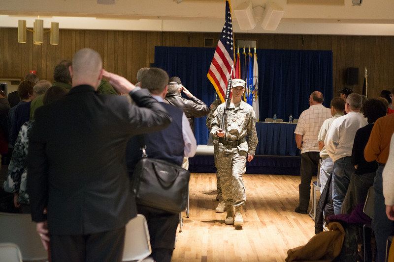 """The UAF ROTC Color Guard retire the colors during the Honoring Vietnam Veterans Ceremony sponsored by UAF student veterans.  <div class=""""ss-paypal-button"""">Filename: LIF-14-4124-76.jpg</div><div class=""""ss-paypal-button-end""""></div>"""