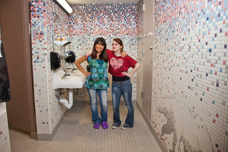 """Skarland Hall residents Sara Spindler, left, and Hailley Myers get ready for a day of classes in one of the dorm's newly re-modeled bathrooms.  <div class=""""ss-paypal-button"""">Filename: LIF-12-3322-159.jpg</div><div class=""""ss-paypal-button-end"""" style=""""""""></div>"""