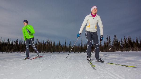 UAF students Ian Wilkinson and Raphaela Sieber enjoy a morning loop around the campus ski trails.  Filename: LIF-12-3348-65.jpg