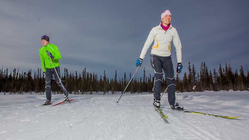 """UAF students Ian Wilkinson and Raphaela Sieber enjoy a morning loop around the campus ski trails.  <div class=""""ss-paypal-button"""">Filename: LIF-12-3348-65.jpg</div><div class=""""ss-paypal-button-end"""" style=""""""""></div>"""