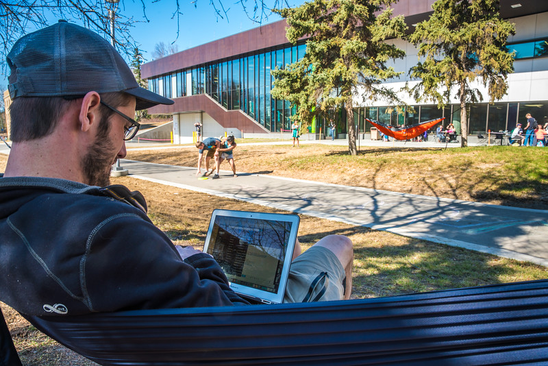 """Students enjoy some spring sunshine and warm temperatures in late April on the Fairbanks campus.  <div class=""""ss-paypal-button"""">Filename: LIF-16-4877-12.jpg</div><div class=""""ss-paypal-button-end""""></div>"""