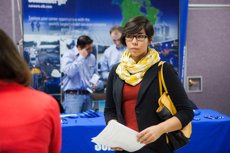 """Grace Petersen waits for a chance to speak to a potential summer internship opportunity at the Student Job and Internship Fair provided by UAF Career Services.  <div class=""""ss-paypal-button"""">Filename: LIF-13-3745-13.jpg</div><div class=""""ss-paypal-button-end"""" style=""""""""></div>"""