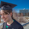 "Senior foreign languages major Lindsey Miller poses in her cap and gown on the roof of the Brooks Building on the Fairbanks campus.  <div class=""ss-paypal-button"">Filename: LIF-12-3352-89.jpg</div><div class=""ss-paypal-button-end"" style=""""></div>"