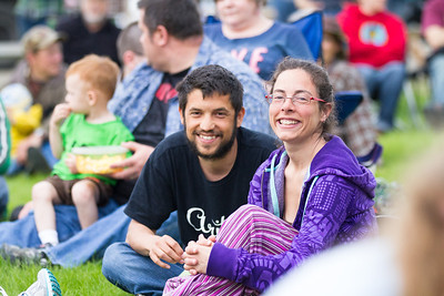 José Miguel and Maria Sagasti Escalona attend the kick-off event of UAF Summer Sessions' Music in the Garden Series at the Georgeson Botanical Garden with the Fairbanks Red Hackle Pipe Band.  Filename: LIF-12-3426-40.jpg