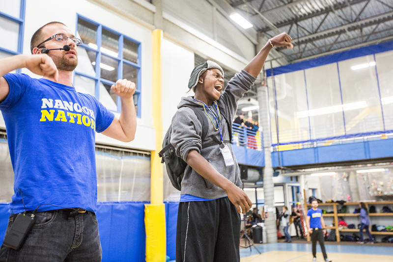 """Terrence Holmes celebrates as he is crowned the Rock Paper Scissors champion of the evening during New Student Orientation at the Student Rec. Center.  <div class=""""ss-paypal-button"""">Filename: LIF-13-3924-263.jpg</div><div class=""""ss-paypal-button-end"""" style=""""""""></div>"""