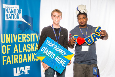 Prospective students take a portrait during the summer 2016 Inside Out event hosted by the UAF's Office of Admissions and the Registrar.  Filename: LIF-16-4926-7.jpg