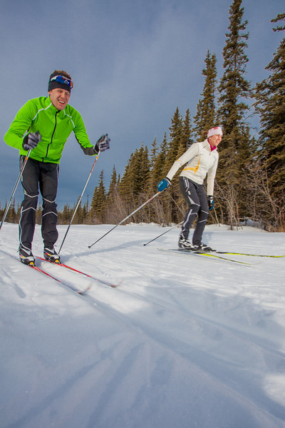 """UAF students Ian Wilkinson and Raphaela Sieber enjoy a morning loop around the campus ski trails.  <div class=""""ss-paypal-button"""">Filename: LIF-12-3348-27.jpg</div><div class=""""ss-paypal-button-end"""" style=""""""""></div>"""