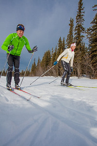 UAF students Ian Wilkinson and Raphaela Sieber enjoy a morning loop around the campus ski trails.  Filename: LIF-12-3348-27.jpg