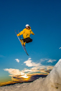 Students enjoy some of the features of UAF's terrain park on a spring afternoon.  Filename: LIF-13-3746-56.jpg
