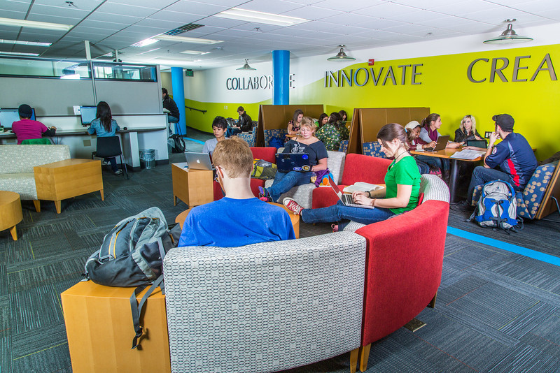 "Students mingle and study in the Nook computer lounge in the Bunnell Building on the Fairbanks campus.  <div class=""ss-paypal-button"">Filename: LIF-13-3987-11.jpg</div><div class=""ss-paypal-button-end"" style=""""></div>"